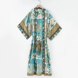 (Last 1) Turquoise Boho Kimono Robe, Duster,